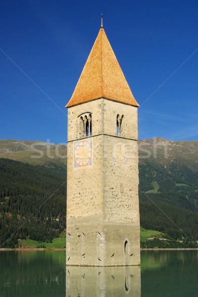 Церкви воды синий озеро башни Италия Сток-фото © LianeM