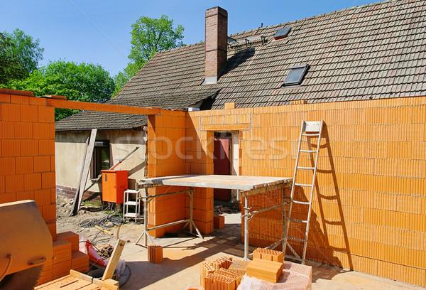 Bouwplaats 15 huis gebouw muur werk Stockfoto © LianeM
