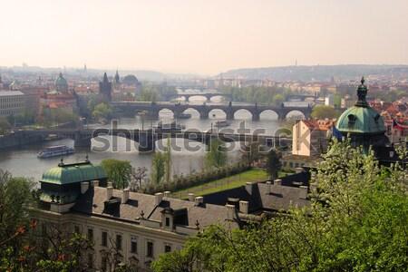 Praga puentes 12 agua edificio Foto stock © LianeM