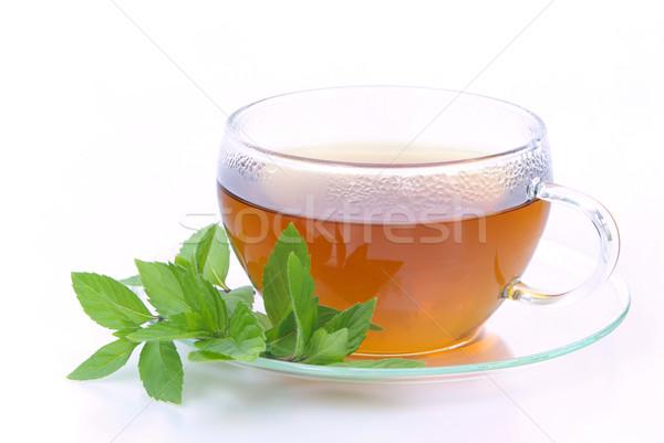 Thé menthe poivrée 10 médicaux verre fond Photo stock © LianeM