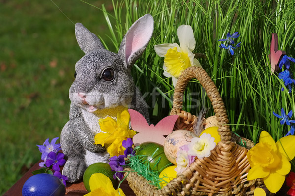 easter bunny with easter basket Stock photo © LianeM