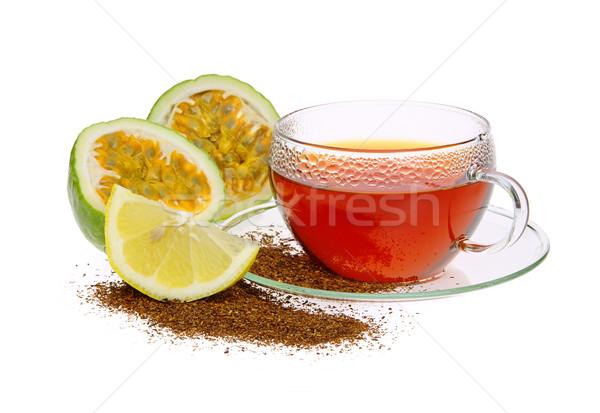 Thé passion fruits verre citron tasse Photo stock © LianeM