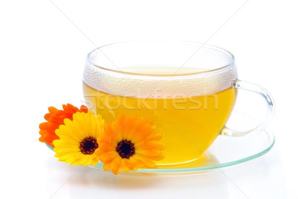 Thee bloemen voedsel glas achtergrond groene Stockfoto © LianeM