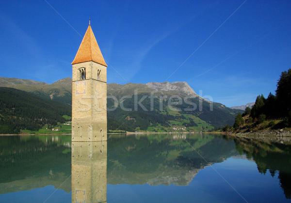 Chiesa 26 acqua blu lago torre Foto d'archivio © LianeM
