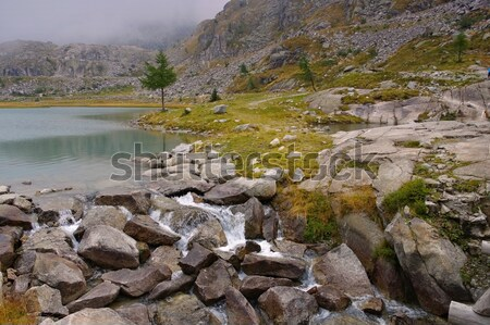 Cornisello lake and waterfall in Dolomites Stock photo © LianeM