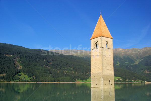 ストックフォト: 教会 · 24 · 水 · 青 · 湖 · 塔