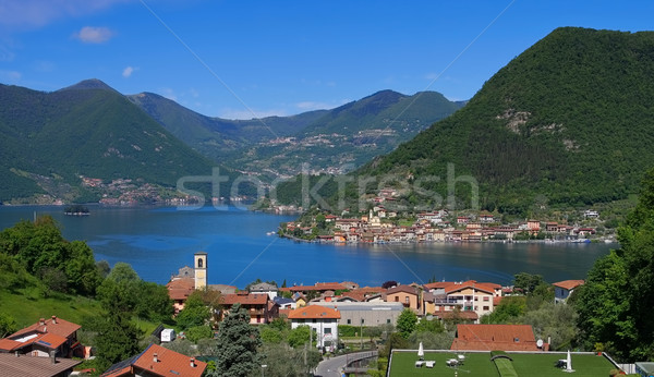 Iseo lake and island Monte Isola in Alps, Lombardy Stock photo © LianeM