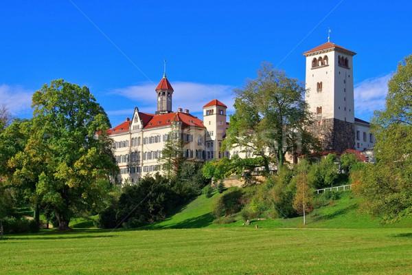 Pałac budynku jesienią parku spadek wieża Zdjęcia stock © LianeM