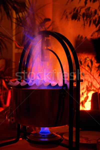 Brandewijn vlam christmas zoete traditie Stockfoto © LianeM