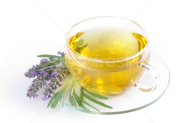Lavanda chá flor médico vidro fundo Foto stock © LianeM