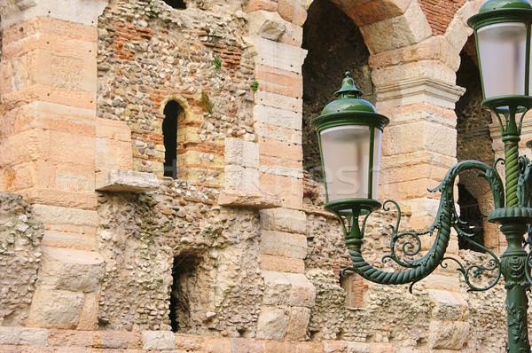 Lanterna 12 edifício parede castelo retro Foto stock © LianeM