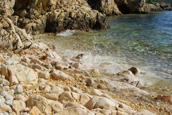 çakıl plaj su arka plan yaz okyanus Stok fotoğraf © LianeM