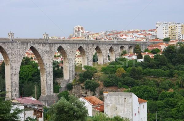 Lisboa céu água ponte azul arquitetura Foto stock © LianeM
