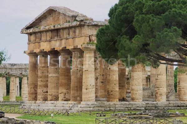 Cielo azul cultura templo griego ruinas Foto stock © LianeM