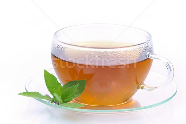 Tea borsmenta orvosi üveg háttér ital Stock fotó © LianeM