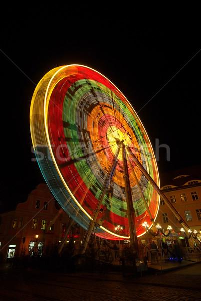 Natal mercado 10 luz noite preto Foto stock © LianeM