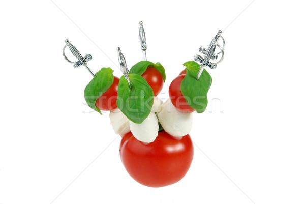 Tükürmek mozzarella yaprak peynir top kırmızı Stok fotoğraf © LianeM