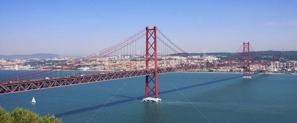 Lissabon brug auto weg zee Rood Stockfoto © LianeM