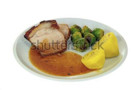 Stok fotoğraf: Domuz · eti · gıda · yeşil · akşam · yemeği · et · beyaz