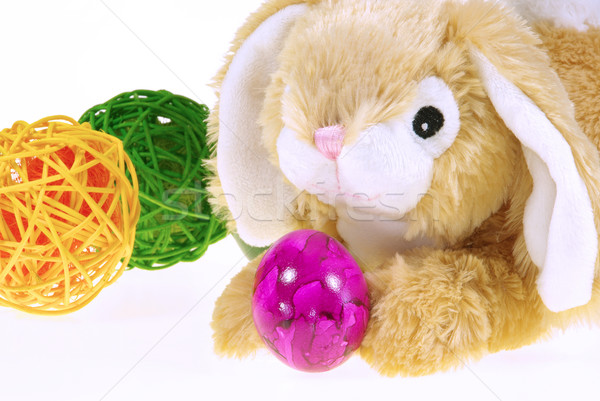 Conejo de Pascua verde vacaciones presente cesta amarillo Foto stock © LianeM