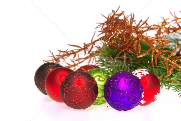 Christmas bal geïsoleerd 14 groene Rood Stockfoto © LianeM