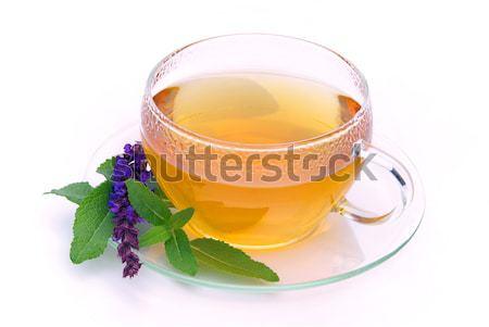 çay adaçayı cam arka plan içmek hasta Stok fotoğraf © LianeM