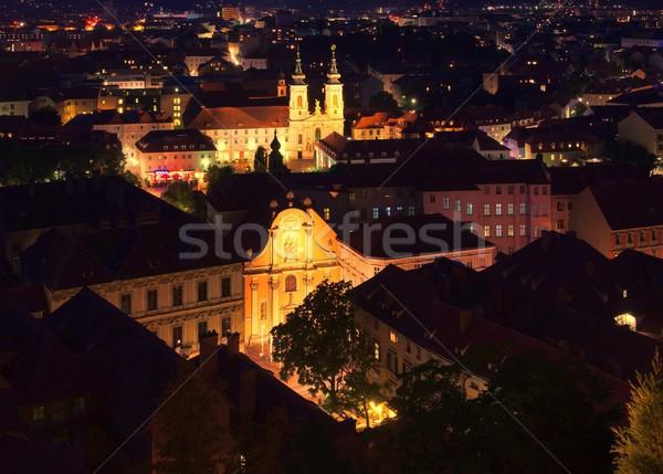 Graz Church Mariahilf night  Stock photo © LianeM