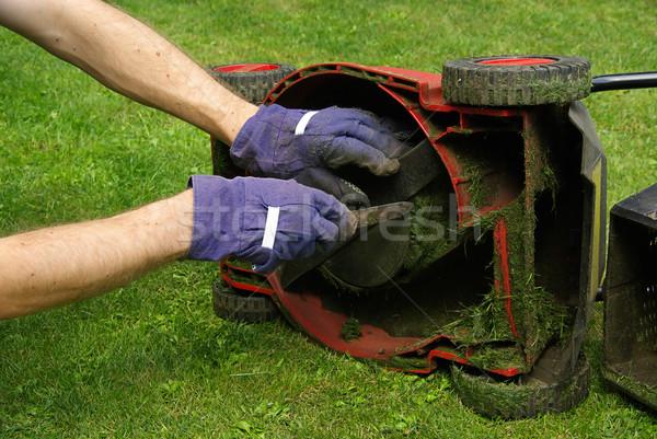 Fűnyíró kéz munka takarítás tiszta szerszám Stock fotó © LianeM