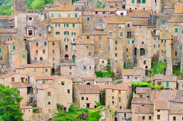 Architectuur Europa tegel Toscane toerisme middeleeuwse Stockfoto © LianeM