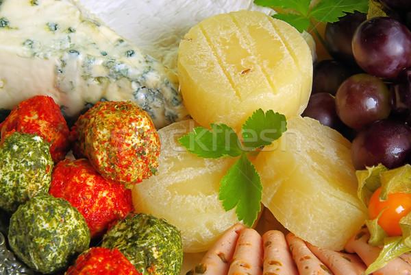 Buffet cruz queso placa carne grasa Foto stock © LianeM