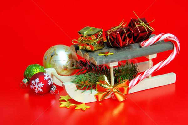 Sanki piłka star czerwony candy dar Zdjęcia stock © LianeM