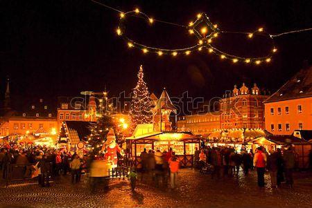 Рождества рынке 19 здании город свет Сток-фото © LianeM
