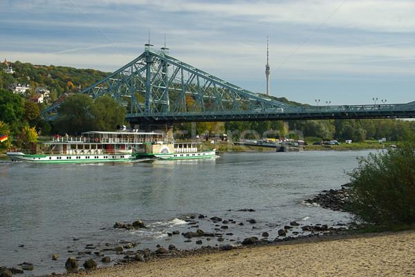 Drezno niebieski zastanawiać się telewizji budowy most Zdjęcia stock © LianeM