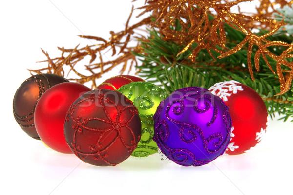 Christmas bal geïsoleerd 13 groene Rood Stockfoto © LianeM