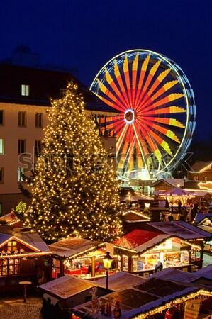 クリスマス 市場 市 光 通り 教会 ストックフォト © LianeM