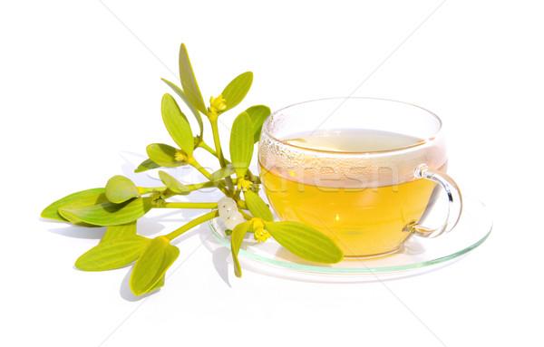 Tea fagyöngy levél levelek csésze ág Stock fotó © LianeM
