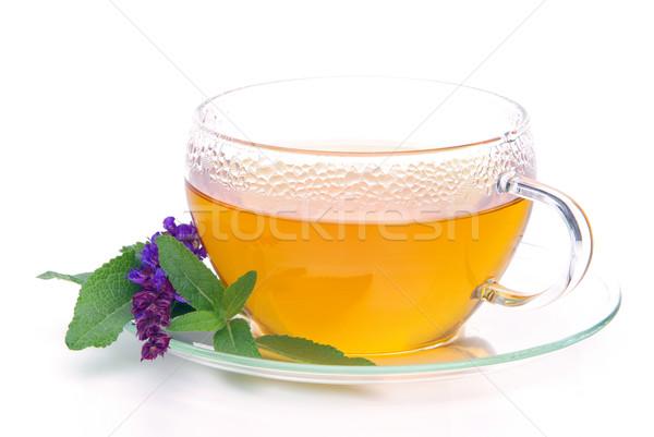 茶 セージ ガラス 背景 ドリンク 病気 ストックフォト © LianeM