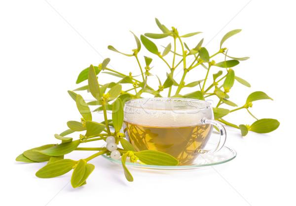 Chá visco folha vidro branco erva Foto stock © LianeM