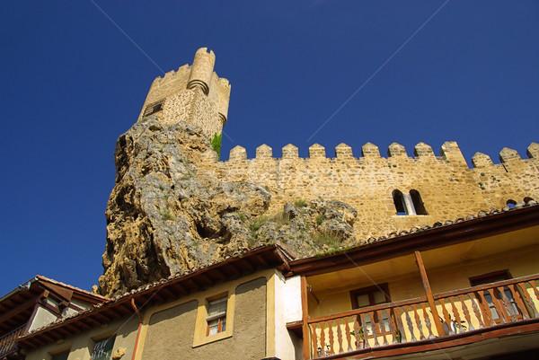 Сток-фото: замок · небе · каменные · облаке · башни · холме