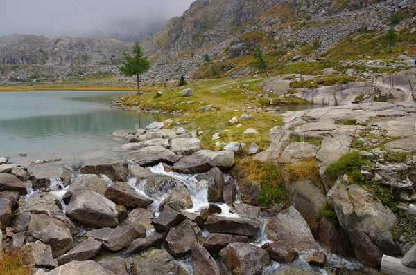 Cornisello lake and waterfall in Dolomites Stock photo © LianeM