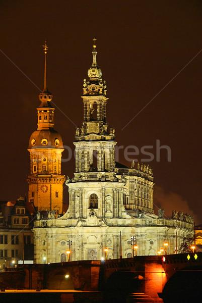 Dresde católico tribunal iglesia noche cielo Foto stock © LianeM