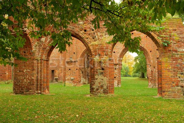 Abdij kerk bladeren steen najaar Europa Stockfoto © LianeM