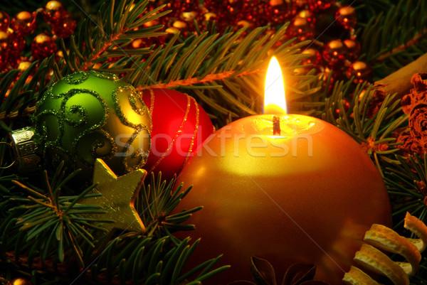 Advent çelenk 31 yeşil top star Stok fotoğraf © LianeM