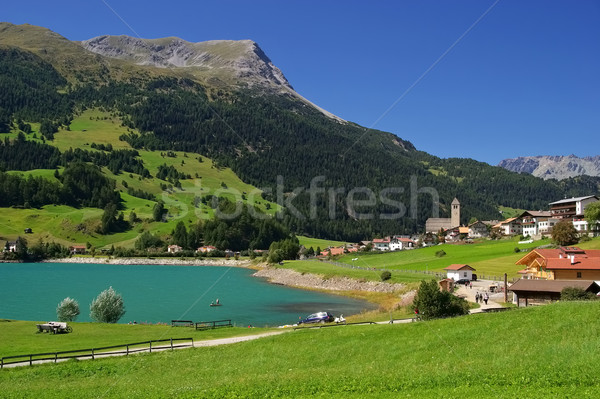 lake Reschensee in South Tyrol Stock photo © LianeM