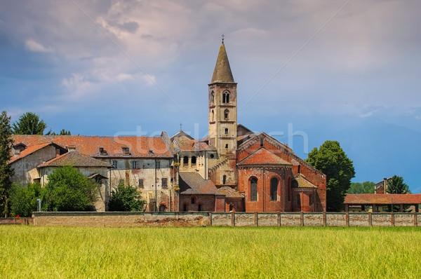Manastır çim alan kilise tuğla kule Stok fotoğraf © LianeM