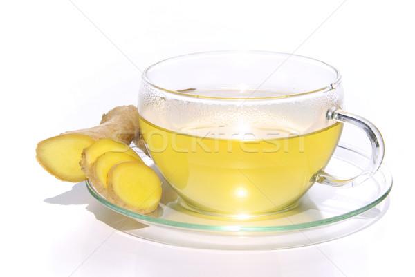Tea gyömbér háttér gyógyszer ital fehér Stock fotó © LianeM