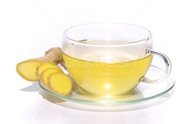 Chá gengibre fundo medicina beber branco Foto stock © LianeM