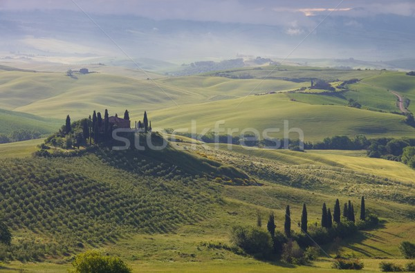 Toskana Haus im Nebel - Tuscany house in fog 02 Stock photo © LianeM