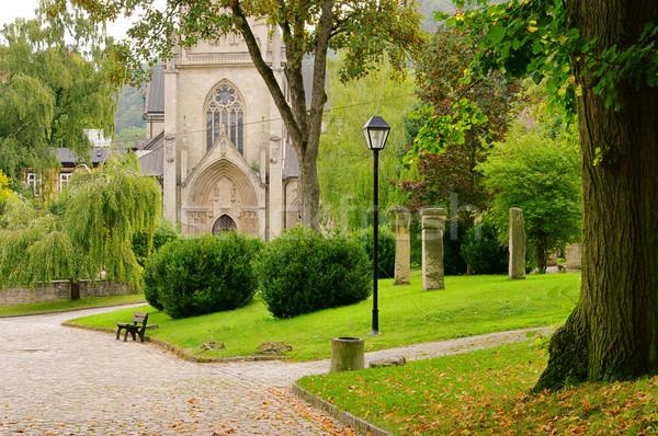Abdij boom deur park gothic godsdienst Stockfoto © LianeM