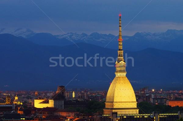 Mol stad berg Blauw skyline Stockfoto © LianeM
